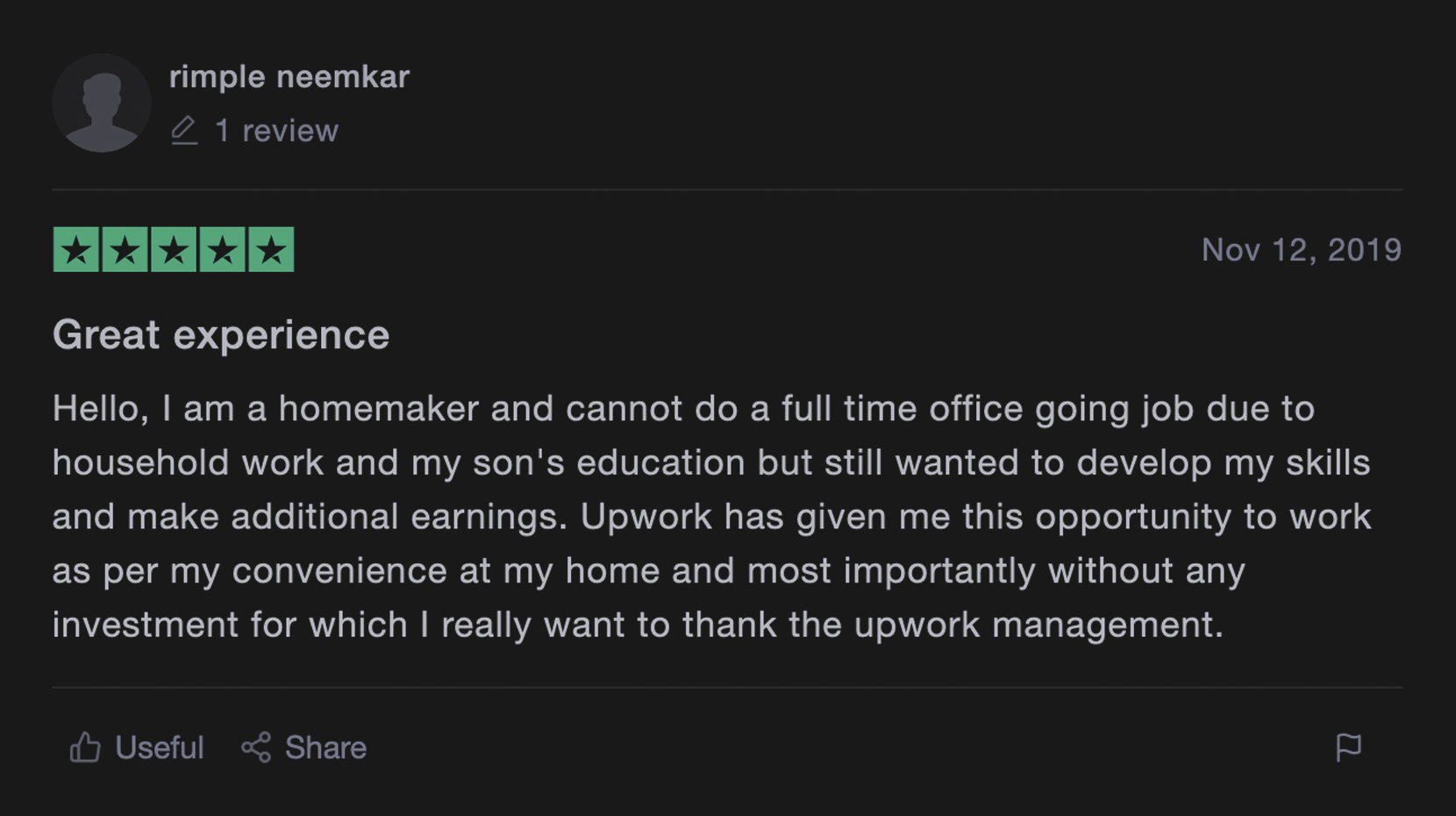 Upwork review from real customer 1