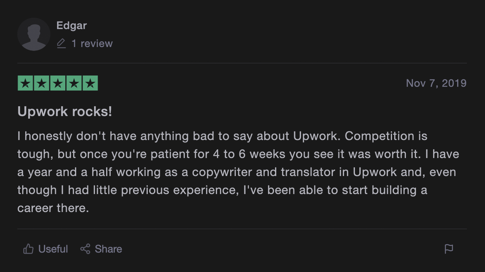 Upwork review from real customer 2
