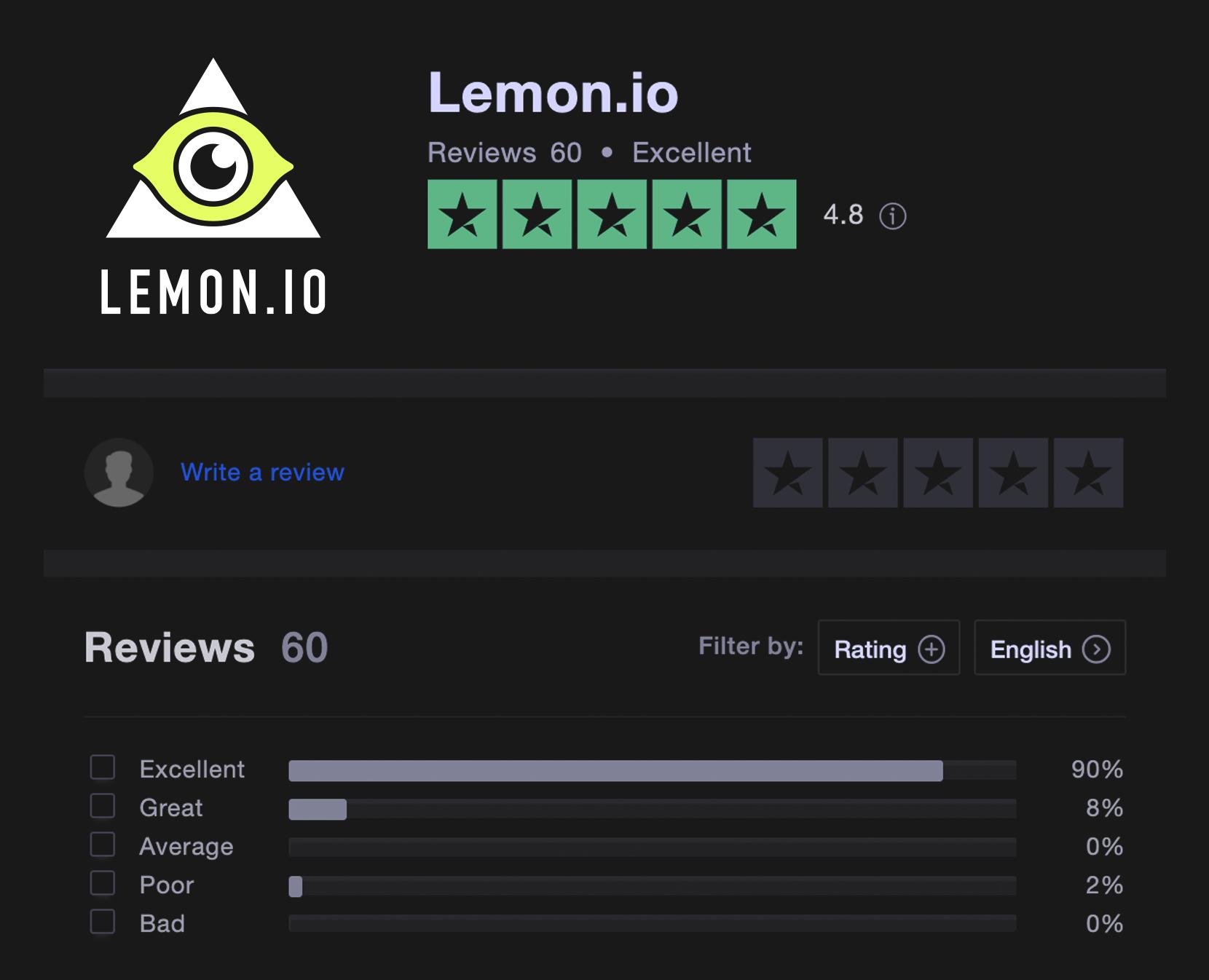 Lemon.io trustpilot review