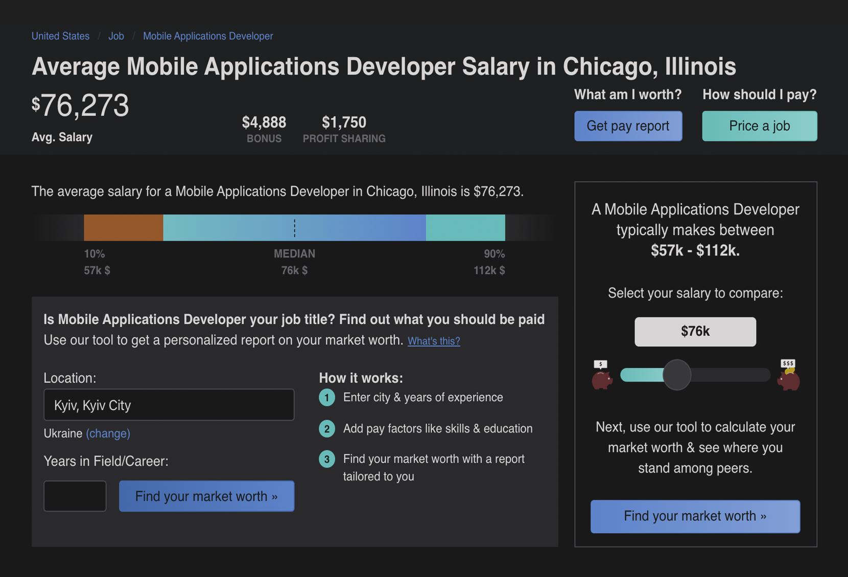 mobila application developer salary in Chicago