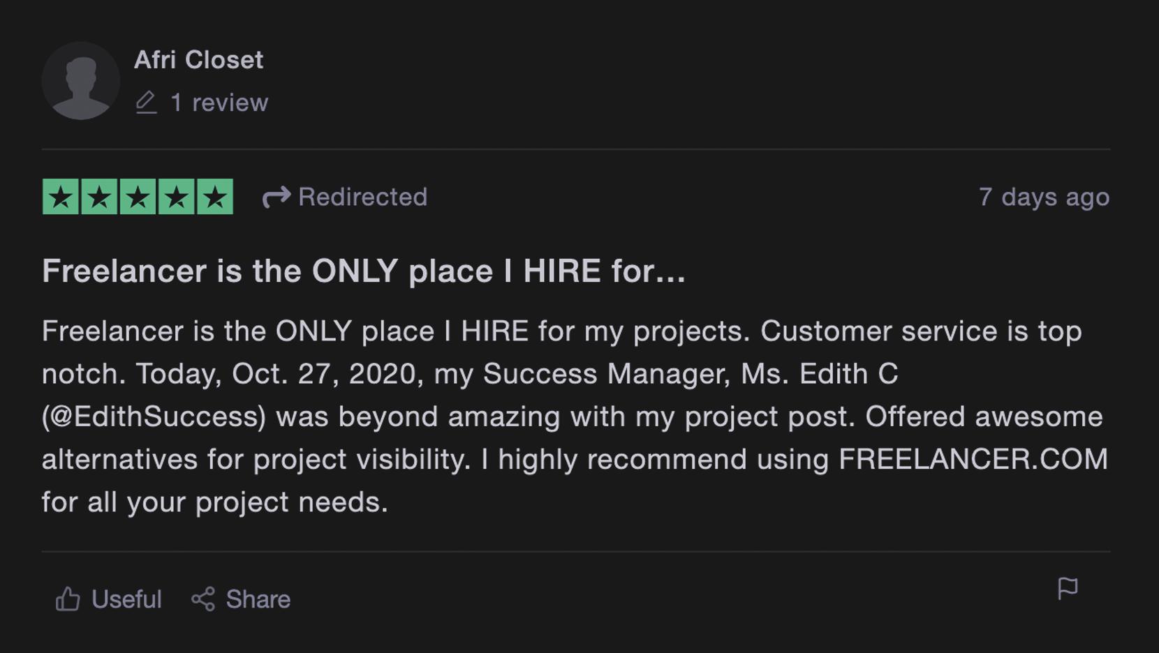 Freelancer feedback
