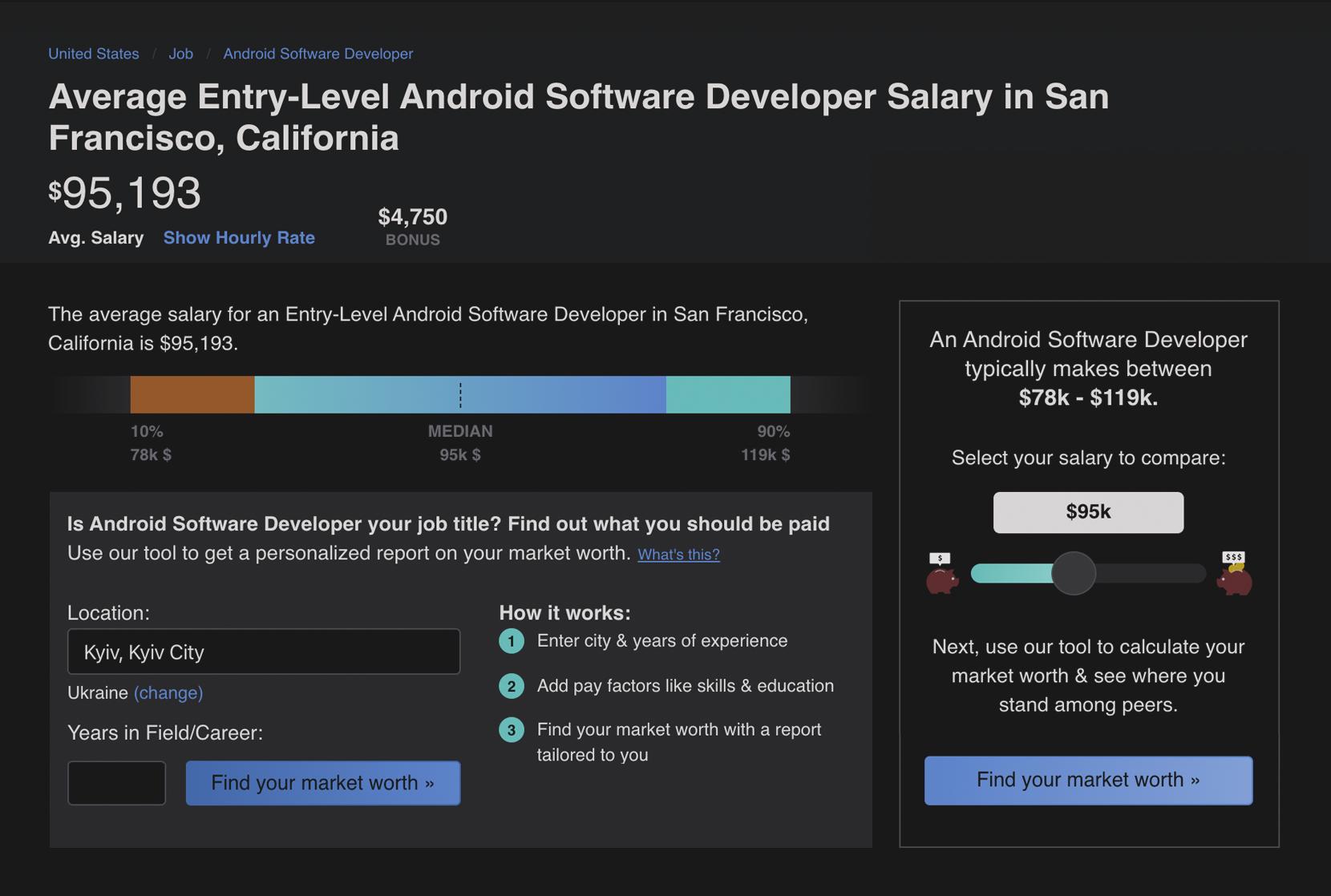 Junior Android developer annual salary in SA