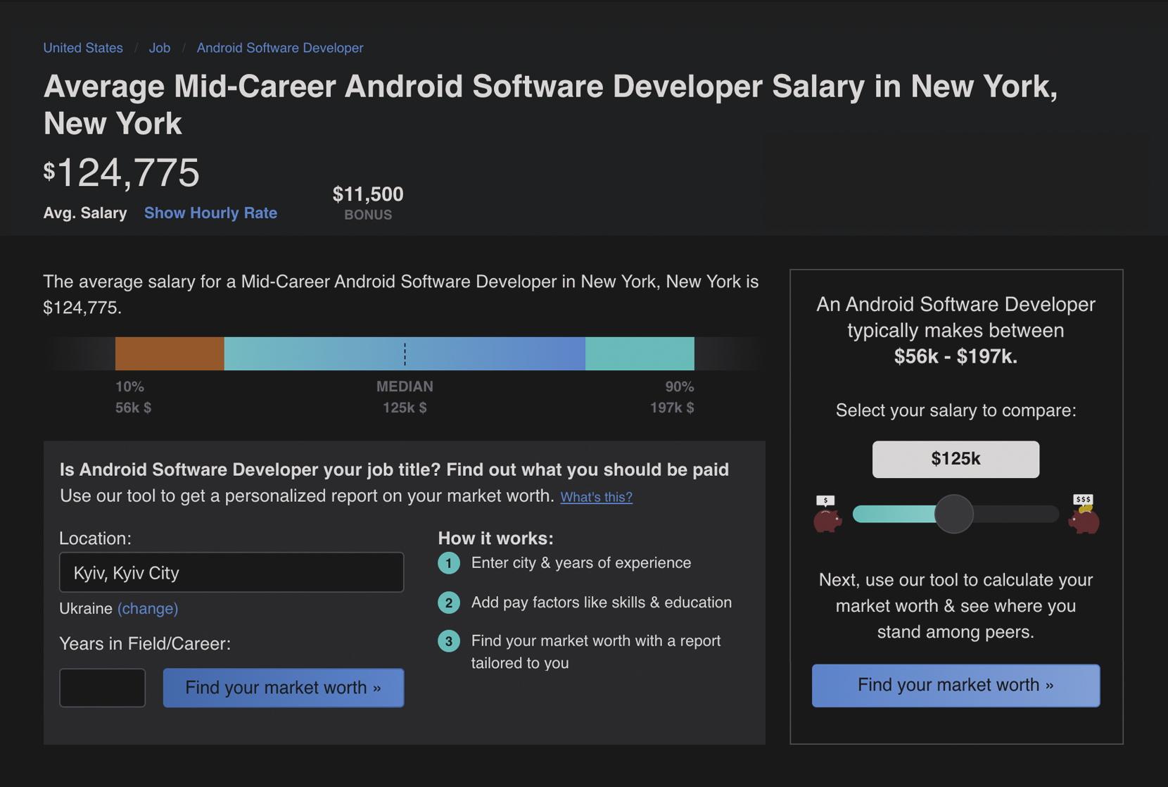 Middle Android developer's salary in NY