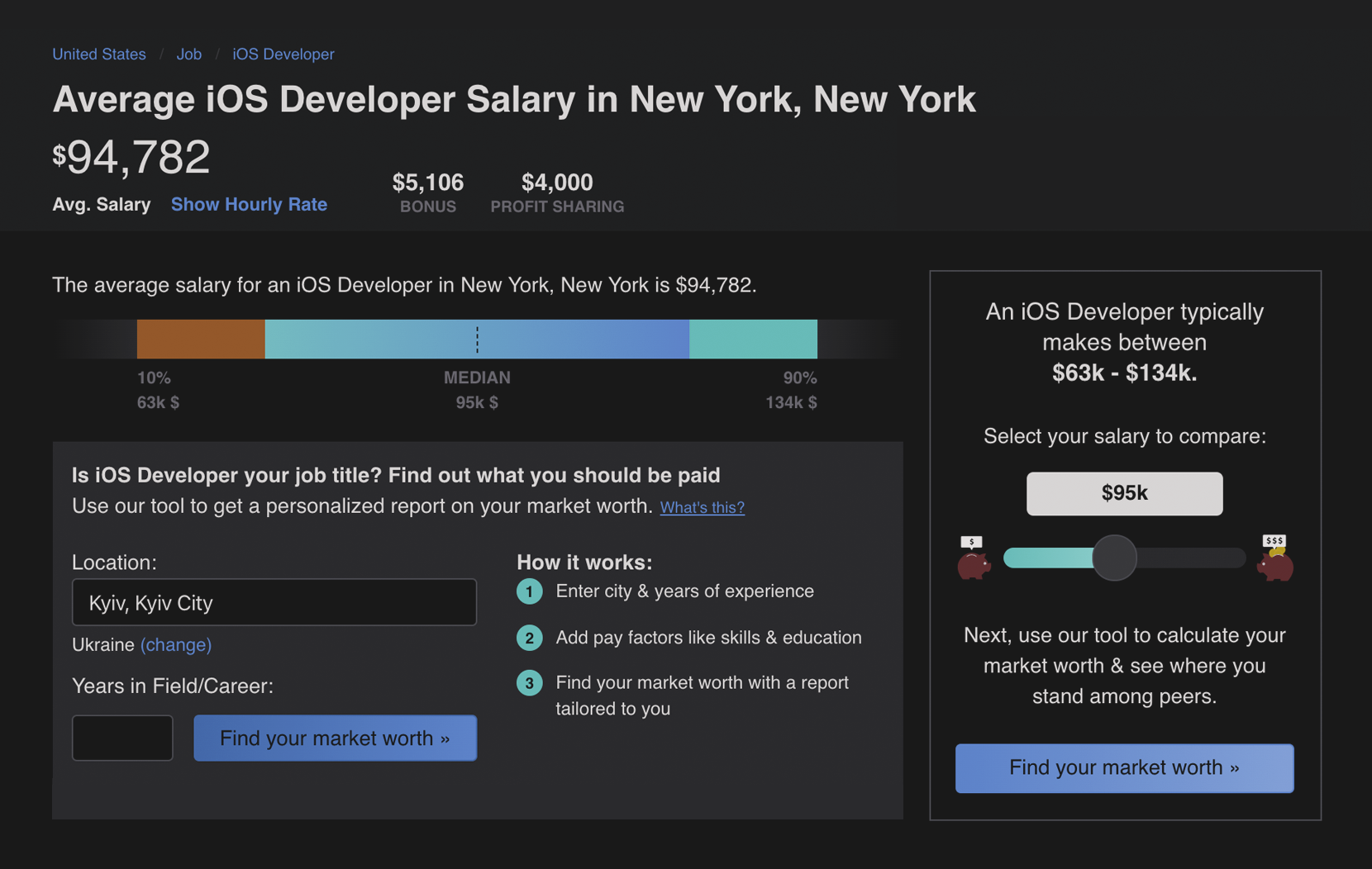 yearly salary for ios developers in New york