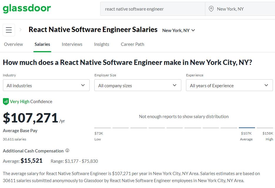 react native salary NY