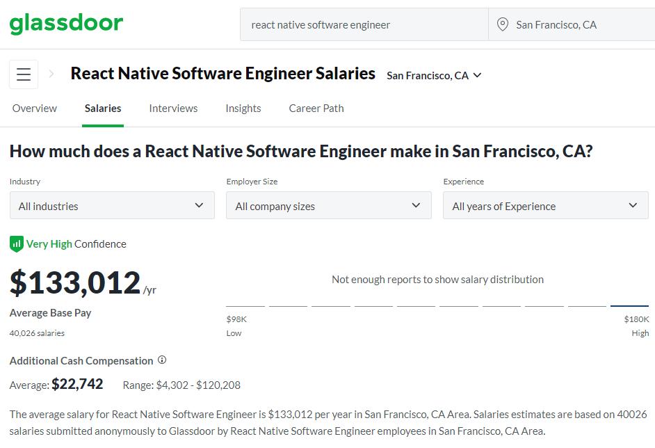 react native dev salary SF